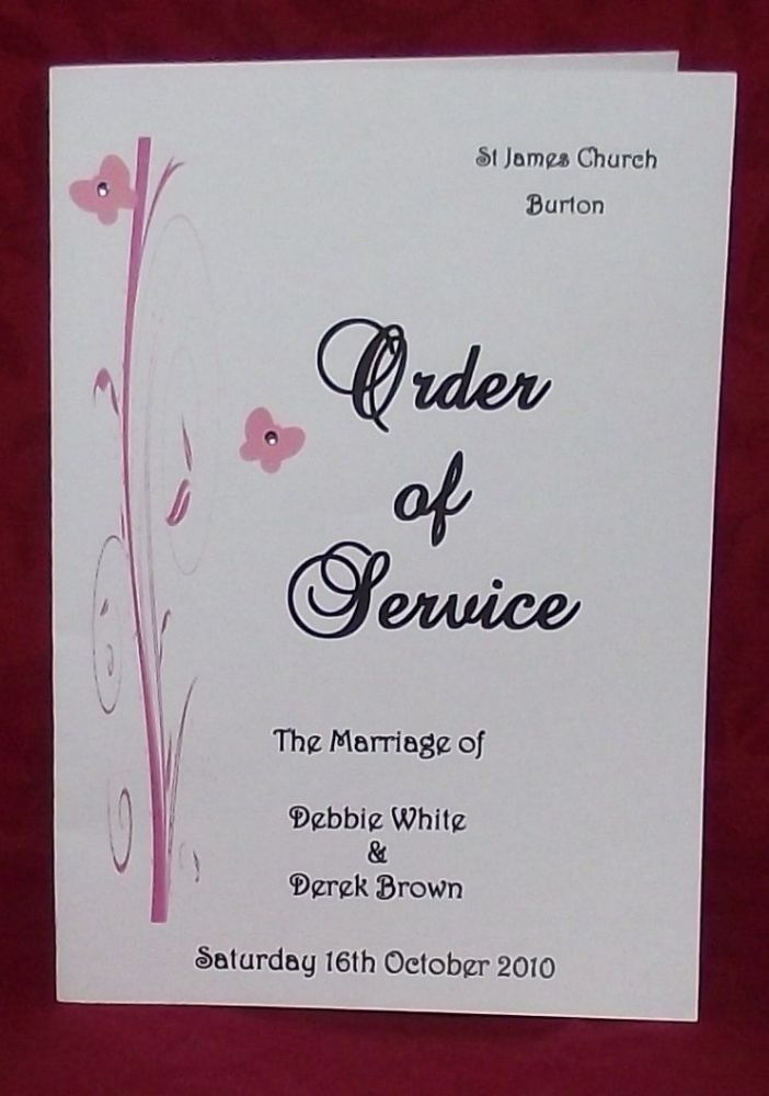 Order Of Service Personalised Wedding Butterfly Scroll